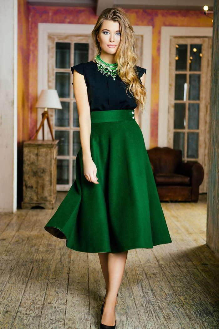 зеленая юбка солнце до колена