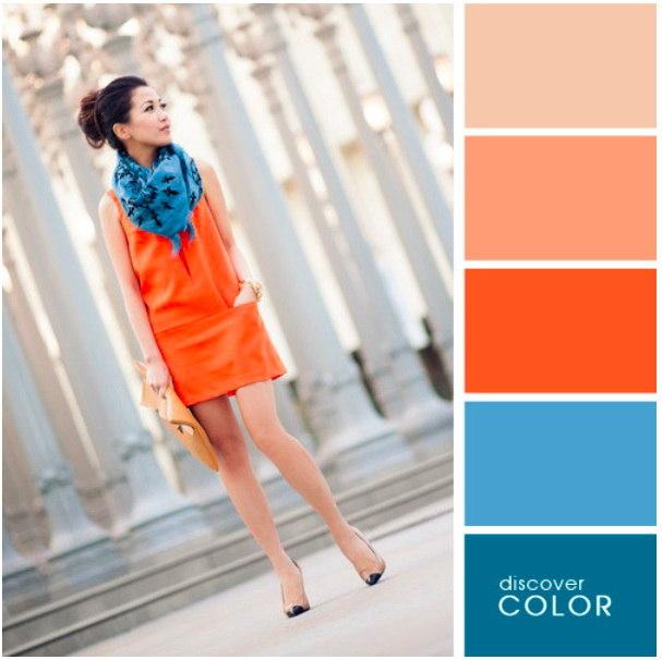 Пример, как правильно сочетать цвета в одежде