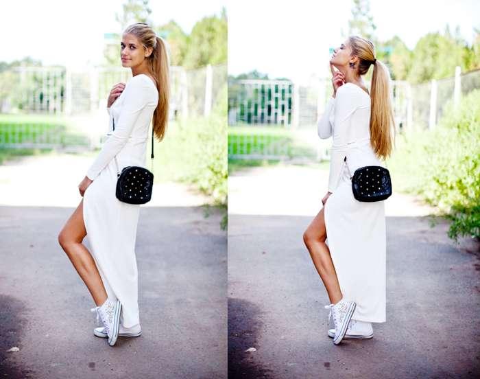 белое длинное платье с кедами