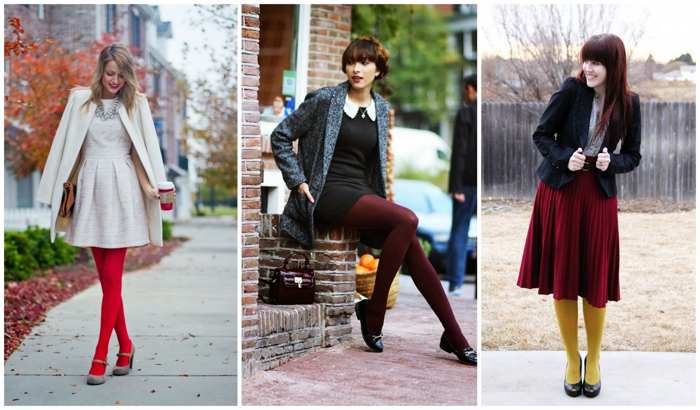 цветные колготки и стиль casual