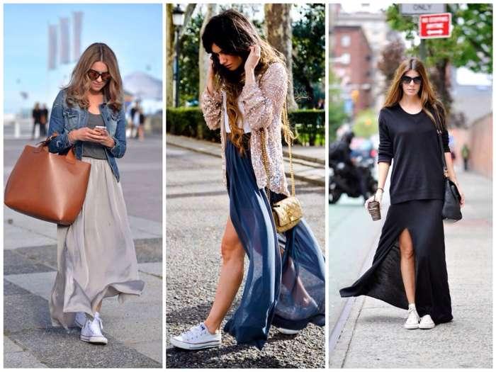 длинная юбка и кеды - деловой стиль