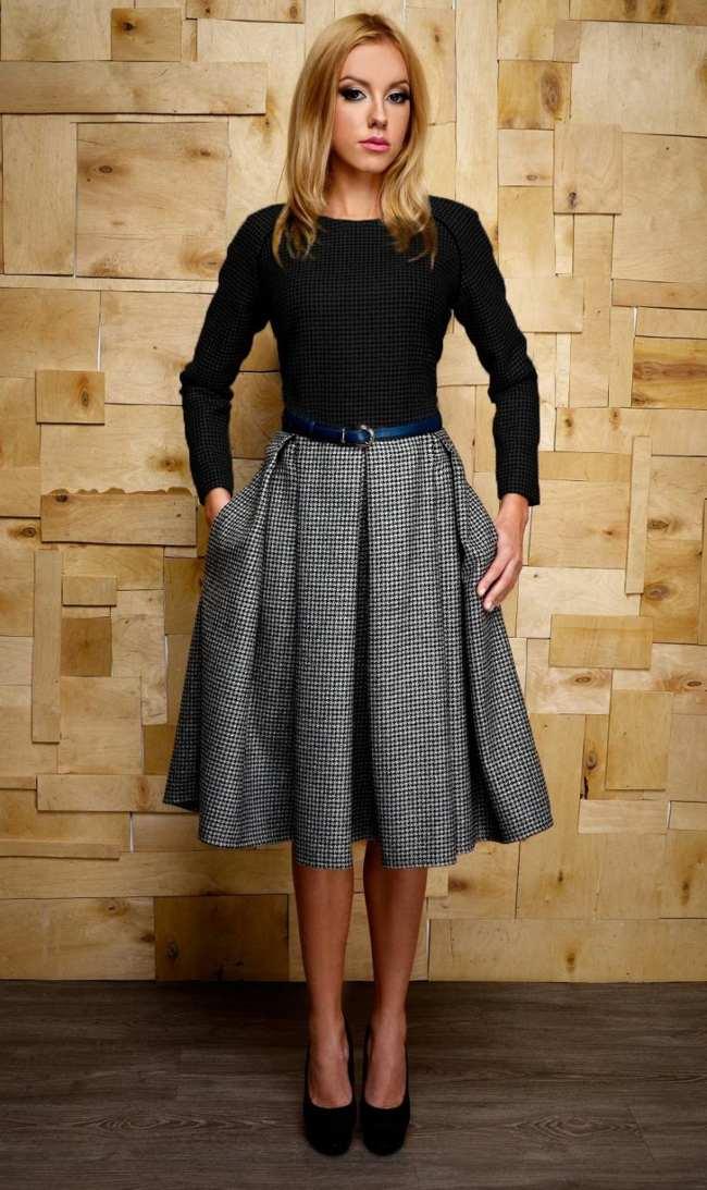 с чем носить длинную шерстяную юбку
