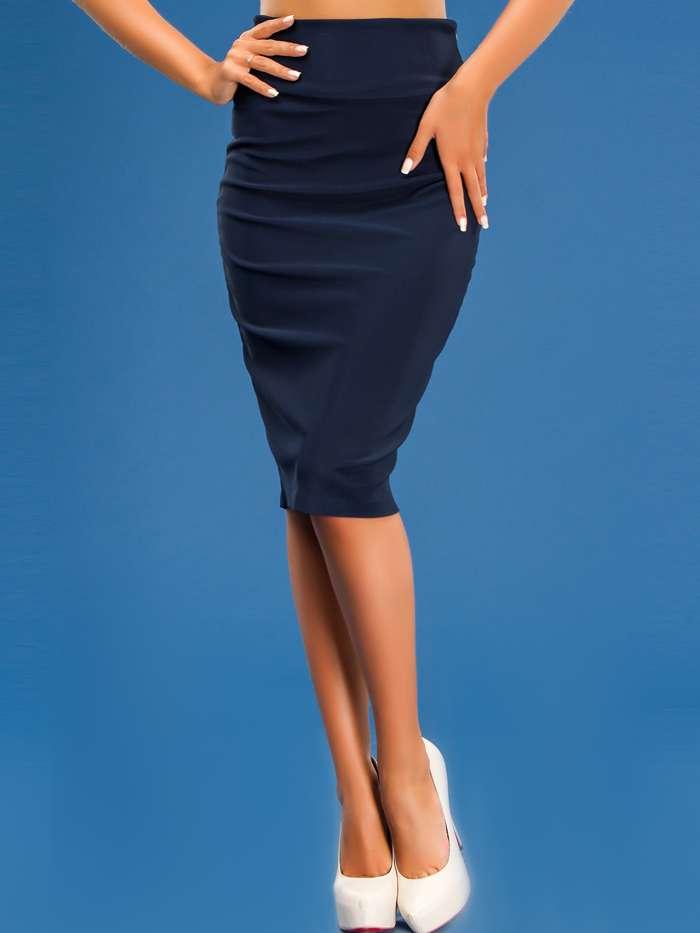 с чем носить трикотажную юбку карандаш ниже колена
