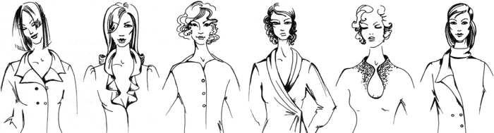 виды воротников для платья
