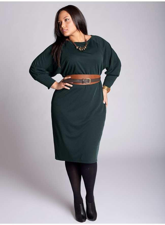 как выбрать платье на фигуру яблоко, пример с поясом