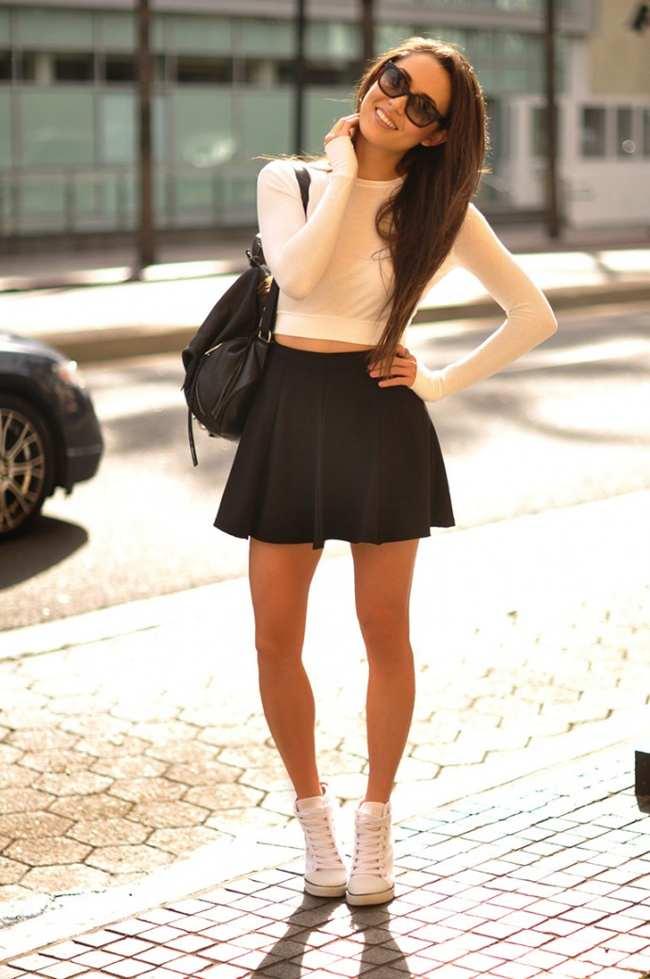 с чем носить черную юбку солнце