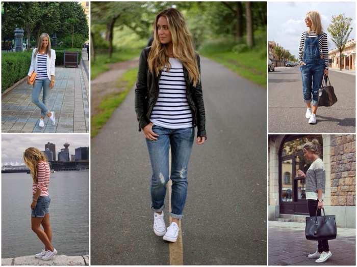 женские белые кеды и джинсы