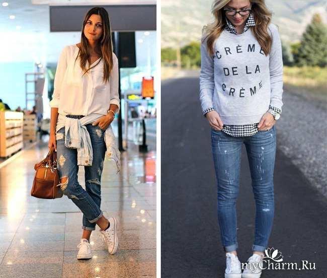 Подвернутые джинсы с кедами