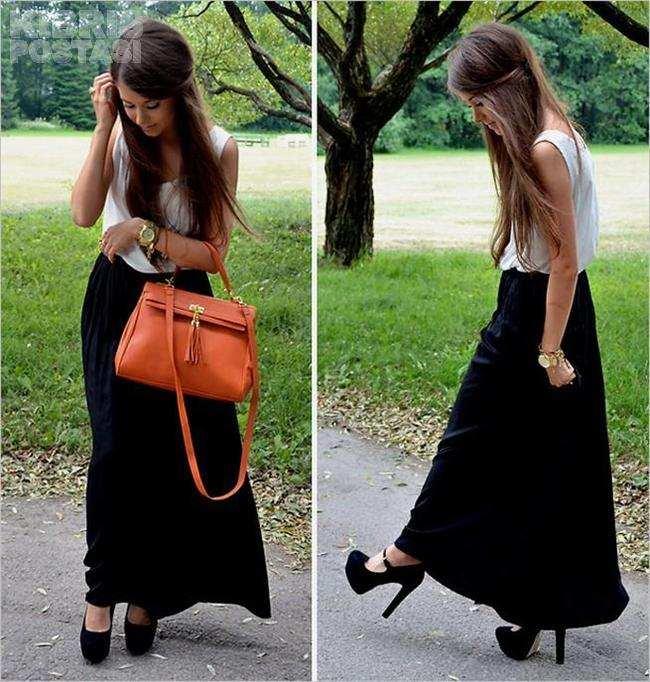 с чем носить черную юбку в пол