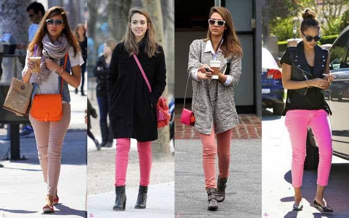 С чем носить цветные скинни